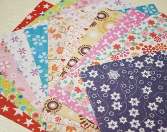 Floral Star and Smile Origami Square Paper Pack for Japanese Origami Crane Folding -72 sheets