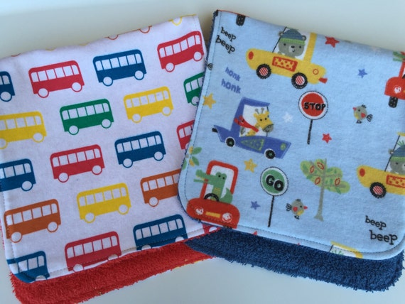 Buses and Cars Burp Cloths