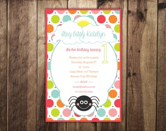 Itsy Bitsy Spider Birthday Invitation