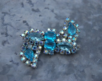 Vintage AB Light Blue and Caribbean Blue Rhinestone Brooch
