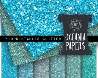 Oceania Glitter Paper in Colors of the Deep Blue Sea, Instant Download - CU OK - Supplies for Scrapbooks, Travel Journals by KimPrintables