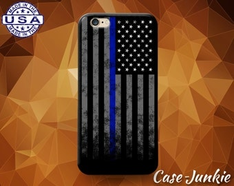 American Flag Thin Blue Line Police Pride Case iPhone 5 5s 5c iPhone 6 and 6+ and iPhone 6s iPhone 6s Plus iPhone SE iPhone 7 Plus + Case