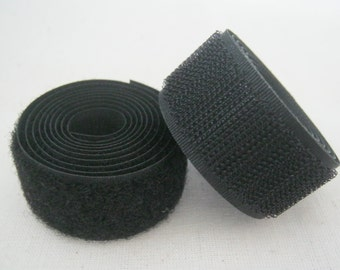 2 Yards, 1 inch (25 mm.) Black Velcro Hook and Loop, Ready to Ship.