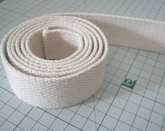 3 Yards, 1.25 inch Cotton Webbing , Natural White Cotton Webbing, High Quality for Key Fob,Bag Straps,Purses Straps,Belting,Tote Bag Handle