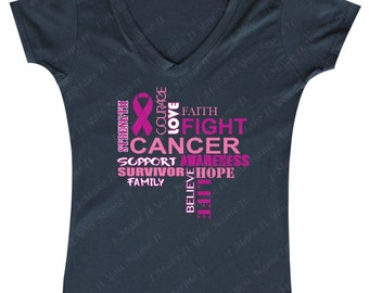 Fight Cancer - Ladies' V-neck (Breast Cancer Awareness)