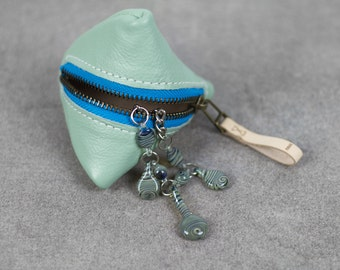 Seafoam Leather Pyramid Pouch, Small Pyramid Pouch, Leather Change Purse, Headphone and Cord Case, Cosmetic Pouch, Leather Jewelry Pouch