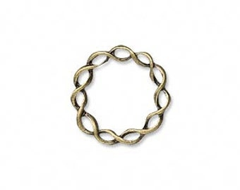 Twisted Ring, Component, 18mm Antiqued brass, 4 each, D440