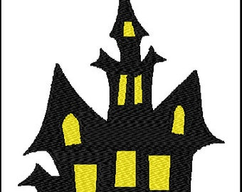 Halloween Haunted House Embroidery Pattern Design