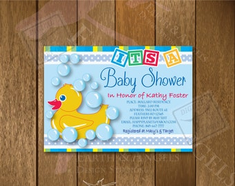 It's A Baby Shower Invitation Adorable Rubber Ducky