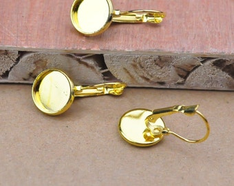 Earring blanks 100pcs (50 pairs) gold ear hook with 12mm round Pad,cabochon tray,Gold Cabochon Earring Setting .