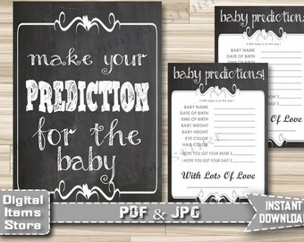 Printable Baby Shower Predictions - Chalkboard Baby Prediction - Baby Shower Prediction Card Sign Chalkboard - Instant Download - ch1