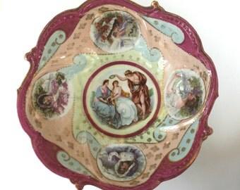 Vintage Hand Painted Decorative Portrait Bowl w/Ladies Depicting Four Seasons