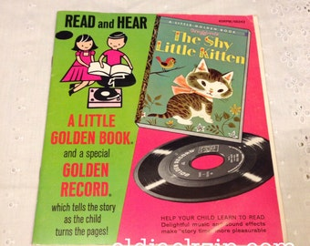 The Shy Little Kitten - A Little Golden Book Read Along 45 Record RARE Like New!