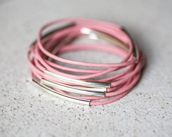Pink leather bangles, set of 10 bracelets
