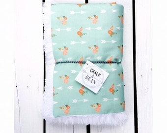 Organic baby blanket mint arrows floral , children blanket, blanket, soft blanket, arrow blanket, mint blanket, floral blanket, minky