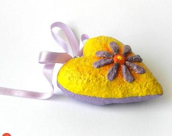 Paper Mache Heart, Yellow Heart Sculpture, Heart Art Object, Papier Mache Heart, Wedding Gift, Anniversary, Purple Heart, Girl Room Decor