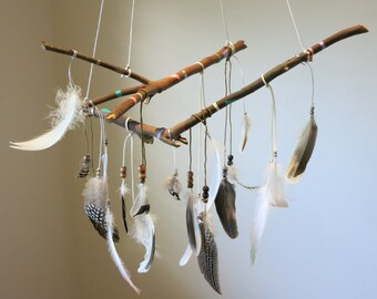 MistyGypsy feather and branch dreamcatcher mobile