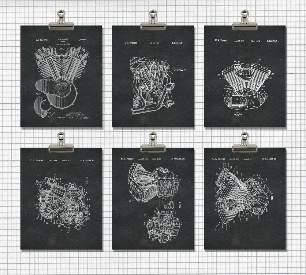 Harley Print Harley Davidson Wall Art By PrintablePatent