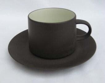 """Vintage Dansk """"Flamestone Smooth Brown"""" cup and saucer, designer Jens Harald Quistgaard - 1950s Danish modern"""