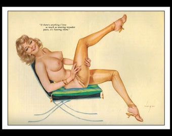 "Vargas Playboy Pinup Girl Vintage February 1964 ""Toreador Pants"" Sexy Blonde Nude Mature Wall Art Deco Print"