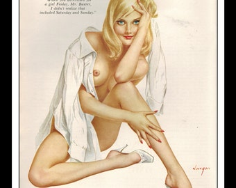 "Vargas Playboy Pinup Girl Vintage June 1968 ""girl Friday"" Sexy Blonde Nude Mature White Shirt Pinup Wall Art Deco Print"