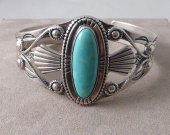 Shube Sterling Silver & Turquoise Southwestern Indian Motif Cuff Bracelet