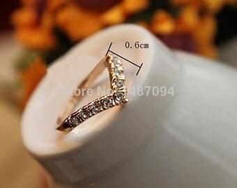 Chevron Gold Ring Modern Vintage Look!