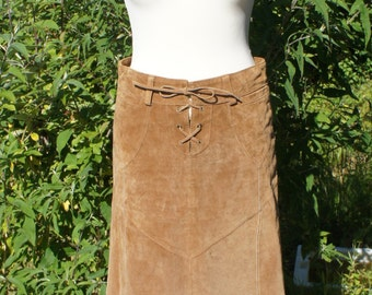 Vintage Retro Tan Leather Suede Knee Length Tie Front Skirt Size Small UK 10 US 6