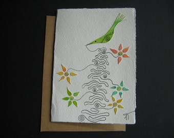 Card I create flowers bird watercolor green yellow pink Canadian art sweetness unique ink