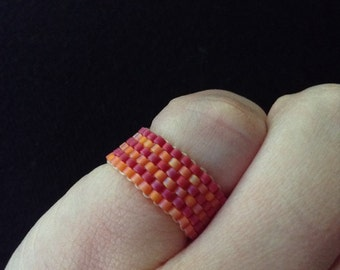 Raspberry & Tangerine Striped Ring