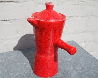 Vintage 70' red ceramic coffee pot