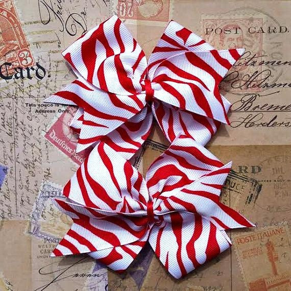 Red Zebra Hair Bows 106