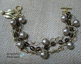 Vintage Assemblage Bracelet One of a Kind OOAK Faux Pearls Bride Gold tone Repurposed Jewelry Upcycled Reclaimed Recycled Jewelry /41
