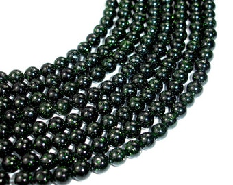 Green Goldstone Beads, 6 mm Round Beads, 15 Inch, Full strand, Approx 63 beads, Hole 1 mm, A quality (253054003)