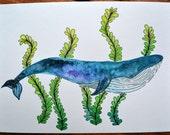 6x8 Blue Whale Watercolor Illustration - Original Painting