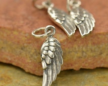 Tiny Sterling Silver Angel Wing Charm - Right Wing