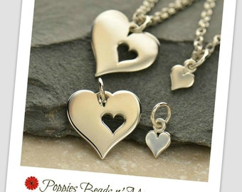 Hearts- Mother Daughter Charm Set - Sterling Silver