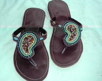 The Teardrop - African Kenyan Handmade Leather Beaded Sandals, Flip flops, Thongs