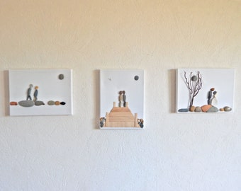 """Table triptych Pebble """"tell me your story"""""""