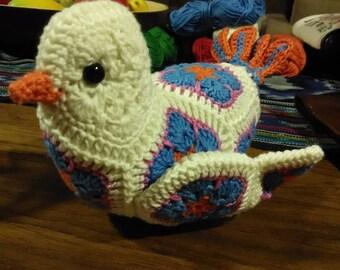 Handmade Crochet African Flowers Bird