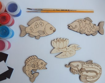 5 Fish Crafts Shapes.Simple Kids Craft.Wooden Cutouts for Adult Coloring.Kids Craft Toy.Kids Colroing.Wood crafts Saheps.Fish Cutouts-014