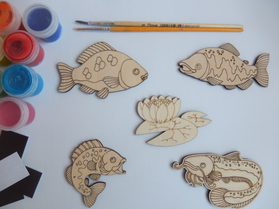 5 fish crafts shapes simple kids craft wooden cutouts for for Wood craft ideas for kids