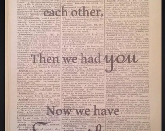First we had each other print Original Dictionary Book Page Wall Art Picture Gift Song Love Heart baby shower
