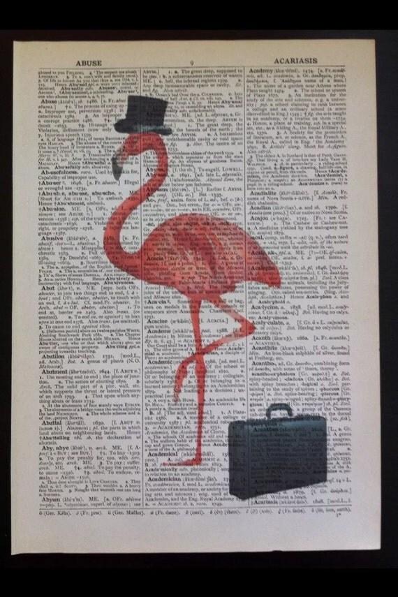 Vintage Flamingo print Original Dictionary Book Page Wall Art