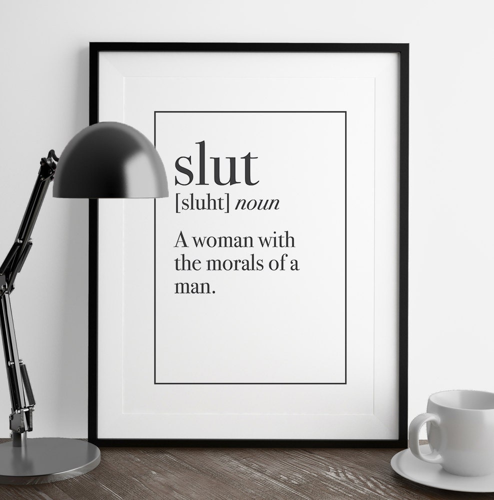 Slut definition print kitchen art living room by fuzzyandbirch for Decoration definition