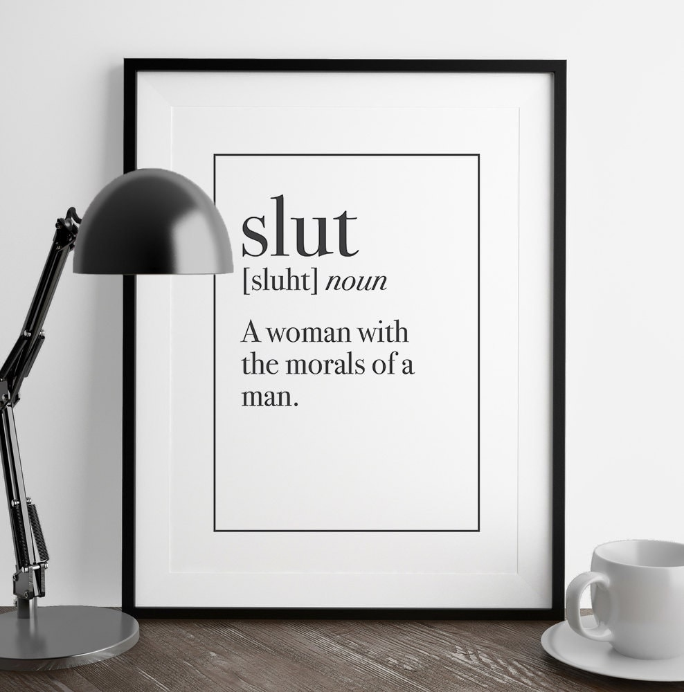 Definition Of Wall Decoration : Slut definition print kitchen art living room by fuzzyandbirch