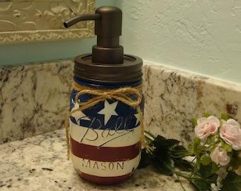 Ball Pint Mason Jar, Soap Lotion Dispenser, Red White and Blue, Kitchen Soap, Bathroom Soap, Bronze Pump, Nickel Pump, Hostess, Patio,Gift