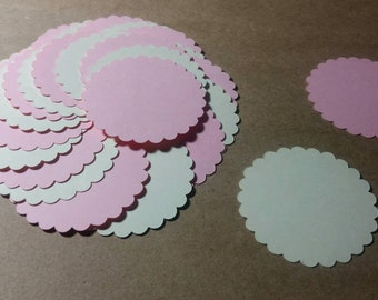 Scalloped Circles. Strawberries and Cream 2""