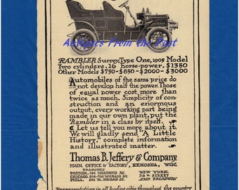 1905 Magazine Ad - Rambler Surrey Type One Thomas B. Jeffery & Company Kenosha Wisconsin - Woman's Home Companion