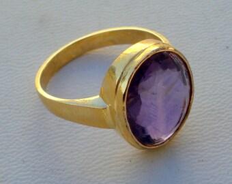 vintage 18k gold ring amethyst gemstone handmade jewelry rajasthan india